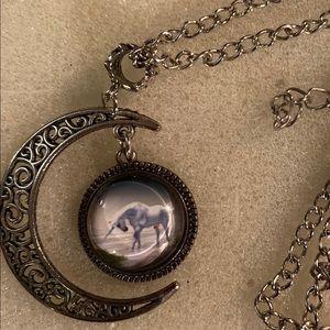 Unicorn and half moon necklace